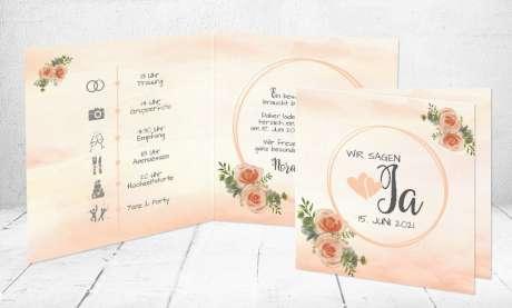 Hochzeitseinladungen apricot