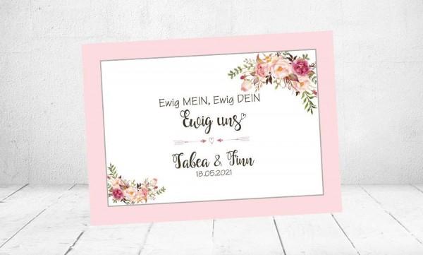 Hochzeitseinladungen romantisch rosa floral Vintage Blumen