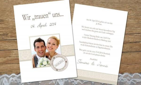 Hochzeitseinladungen weißgold
