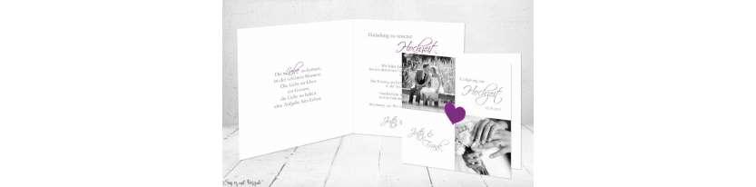 Einladungskarten Hochzeit lila weiß