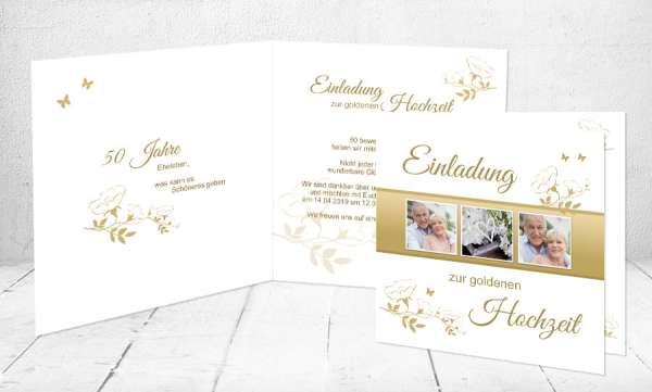 Einladungskarten Goldhochzeit