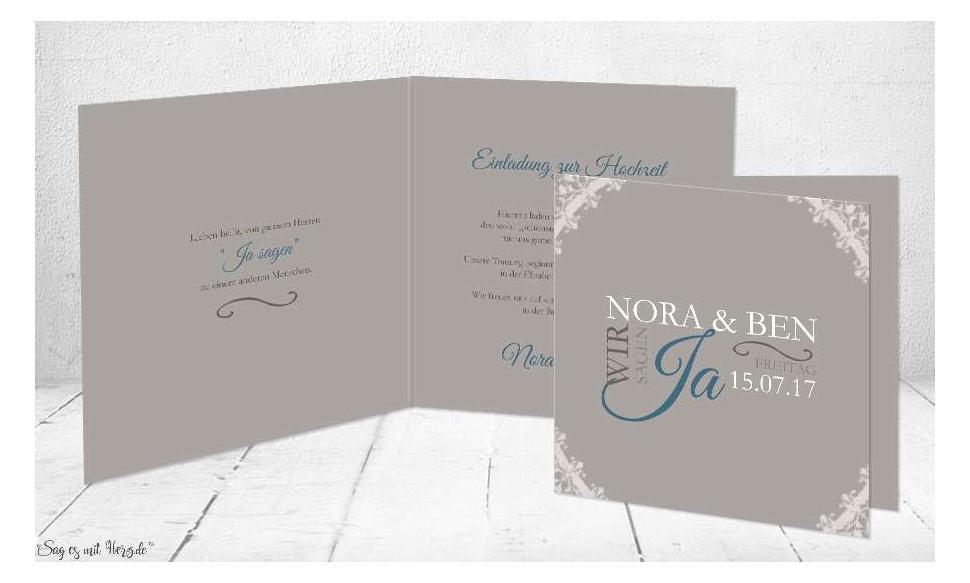Einladungskarten Hochzeit grau