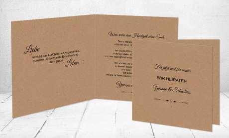 Hochzeitseinladung Kraftkarton