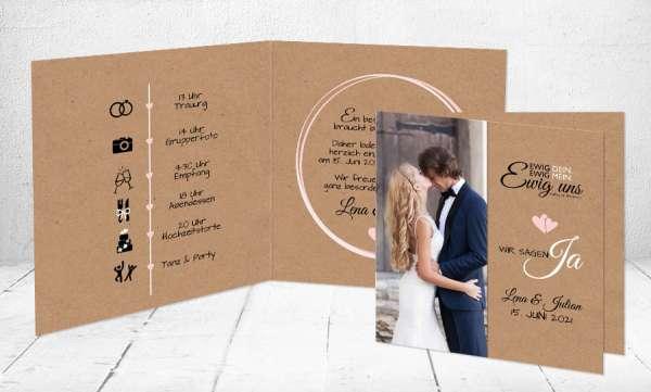 Hochzeitseinladung Kraftpapier mit Foto