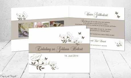 Moderne Einladungskarten Goldene Hochzeit, Silberhochzeit