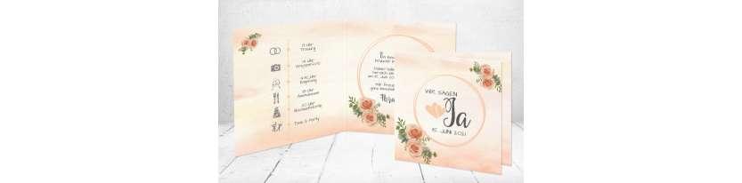 Einladungskarten Hochzeit Apricot Aquarell