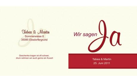 """Einladungskarte Hochzeit """"Ja-Sager"""", Klappkarte Quadrat, rot creme"""
