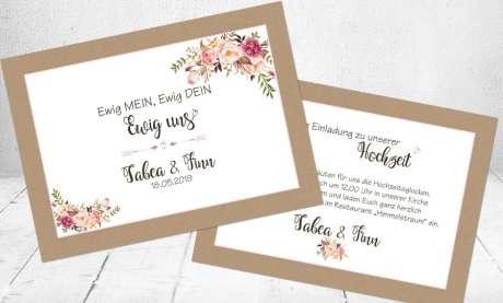 Hochzeitseinladungen romantisch rosa floral Vintage Blumen Kraftpapier