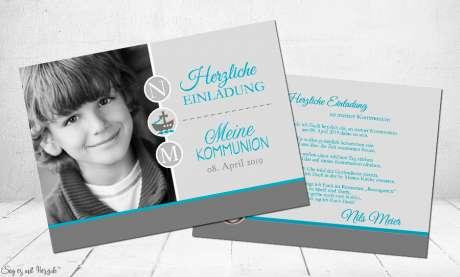 Einladungskarten Kommunion Vintage taupe grau türkis