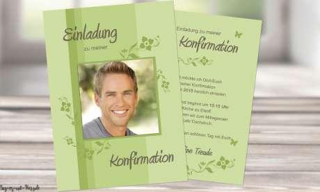 Einladung Konfirmation grün modern Postkarte