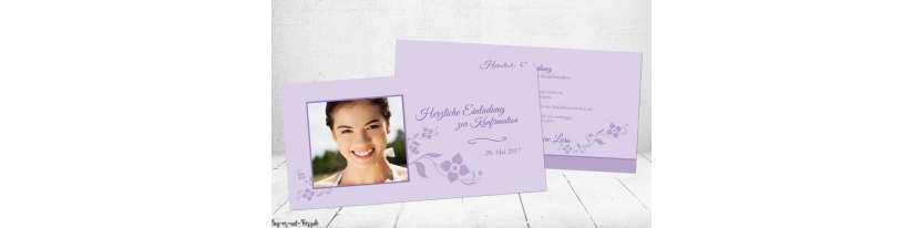 Einladungskarten Konfirmation lila flieder modern