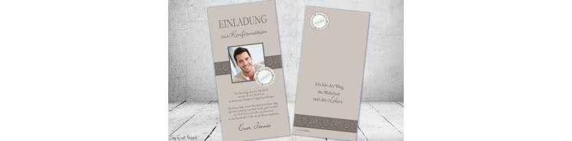 Einladung Konfirmation Junge modern taupe grau beige