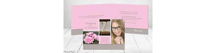 Einladungskarte Konfirmation Klappkarte rosa