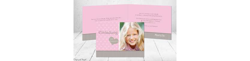 Einladungskarten Kommunion Mädchen rosa Klappkarte