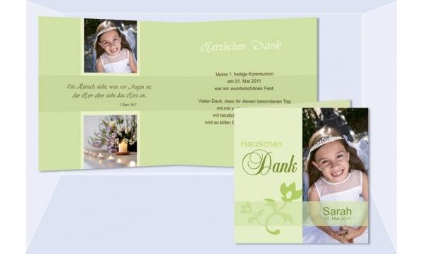 Einladung Kommunion / Konfirmation, Klappkarte 12,5x12,5 cm, grün