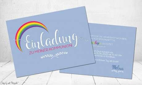 Einladungskarten Kommunion Regenbogen
