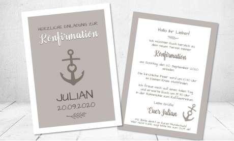 Einladungskarten Konfirmation Anker