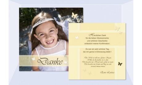 Danksagung Kommunion / Konfirmation, Flachkarte 12,5x12,5 cm, gelb