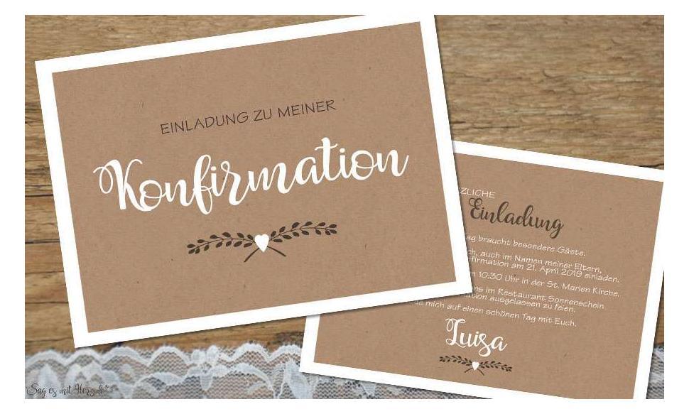 Einladungskarten Konfirmation diy