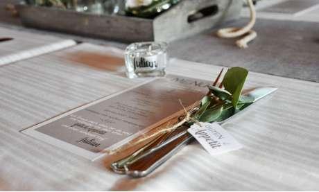 Menükarten Konfirmation Anker grau taupe  modern