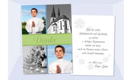 Danksaung Kommunion / Konfirmation, Postkarte 10x15 cm, grün