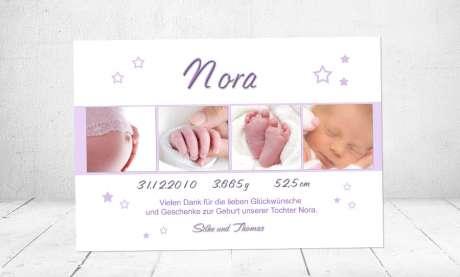 Dankeskarten Geburt Sterne