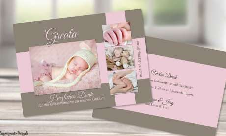 Dankeskarten Geburt viele Fotos