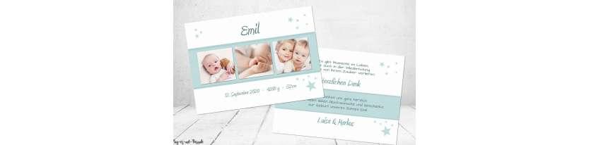 Danksagungskarten Geburt schlicht
