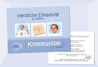 Einladung Kommunion / Konfirmation, Postkarte 10x15 Cm, Fisch Hellblau