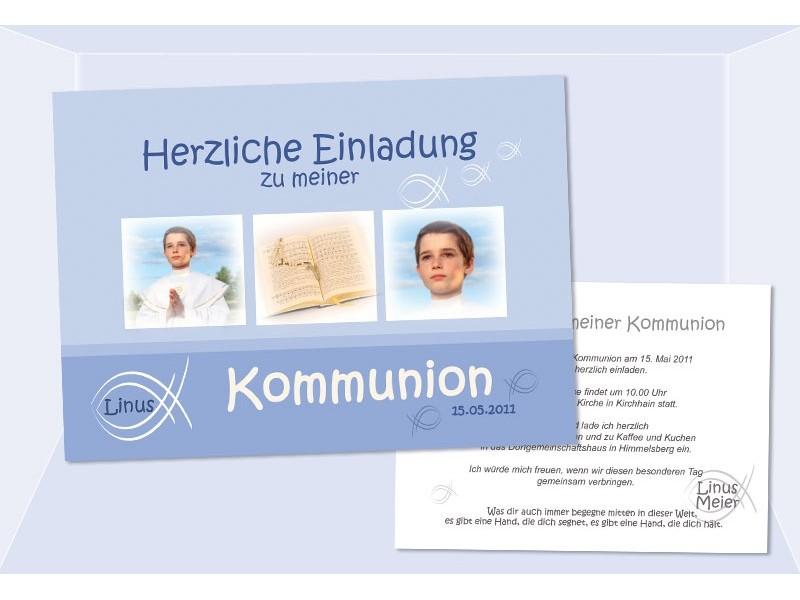 Einladungskarte Kommunion / Konfirmation, Einladung, Karte, Postkarte, Fisch, hellblau