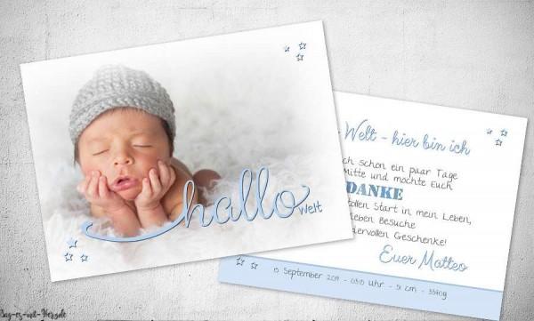 Danksagung Geburt Hallo Welt