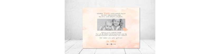 Dankeskarten Geburt aquarell