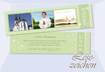 Lesezeichen Danksagung Kommunion / Konfirmation, 5x20 cm, grün