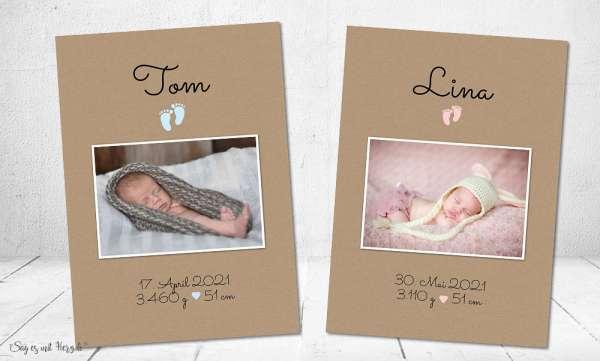 Dankeskarten Geburt Naturpapier