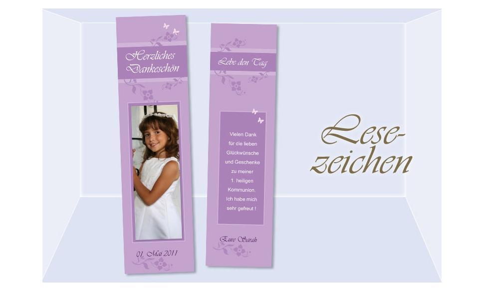 Lesezeichen Danksagung Kommunion / Konfirmation, 5x20 cm, lila