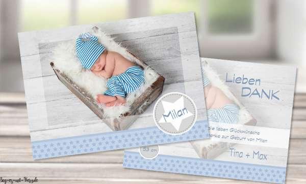 Dankeskarten zur Geburt Junge