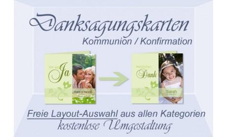 Freie Layout-Auswahl für Danksagungskarten Kommunion Konfirmation