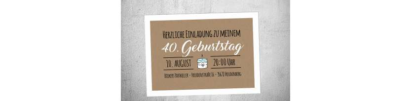 Einladungskarten Geburtstag Vintage Stil 40 30 Kraftpapier