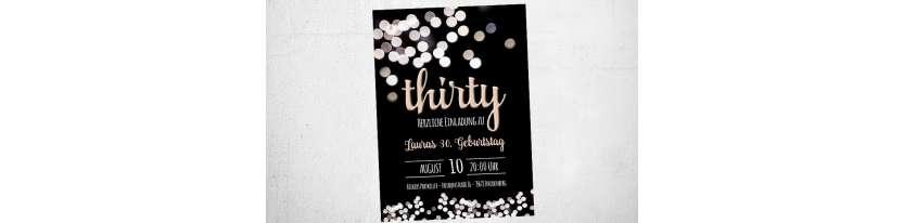 Einladungskarten-Geburtstag-thirty-Glitzer-Lampen-Schwarz-Vintage-Stil