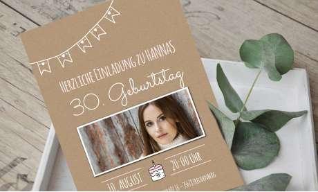 Einladungskarten Geburtstag Vintage Stil 40 30 Kraftpapier mit Foto