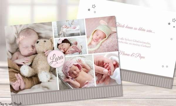 Dankeskarten Geburt Collagen