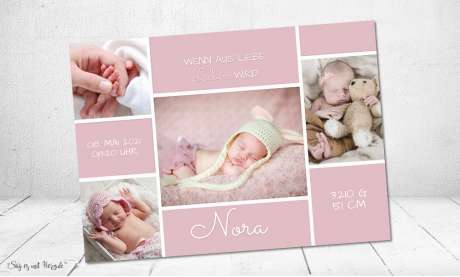 Danksagung Geburt Vintage rosa