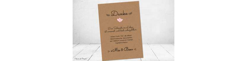 Dankeskarten Geburt Kraftpapier diy