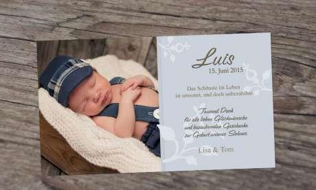 Dankeskarte Geburt Baby Fotokarte