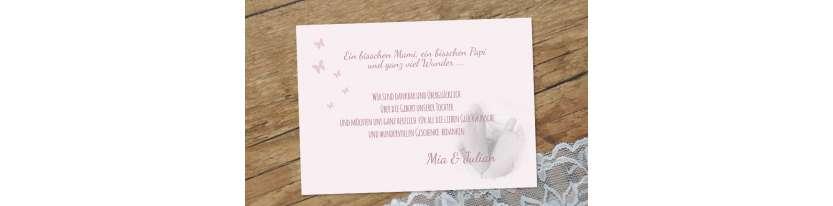 Danksagung Geburt Postkarte 10x15  rosa