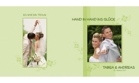 """Karte, Danksagungskarte Hochzeit """"Hand in Hand"""", Klappkarte Quadrat, grün"""
