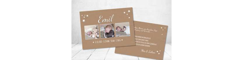 Danksagung Geburt Postkarte 10x15  Kraftpapier Vintage Sterne