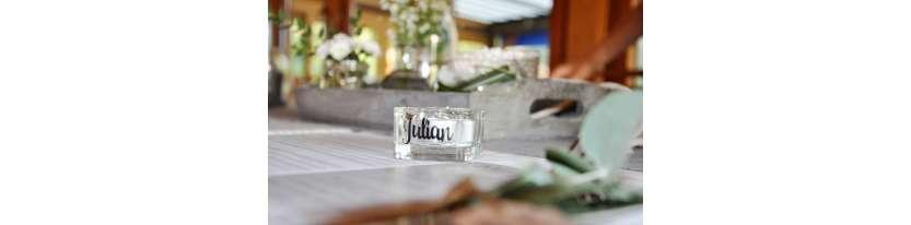 Namensschild Namenskärtchen Teelicht Hochzeit