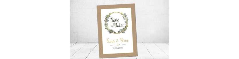 Save the Date Karten Vintage Boho Olive Eukalyptus