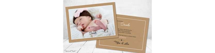 Dankeskarten Geburt Vintage Kraftpapier